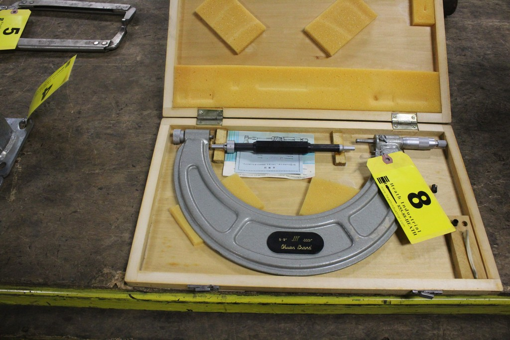 """8-9"""" Micrometer with Standard in Wood Case"""
