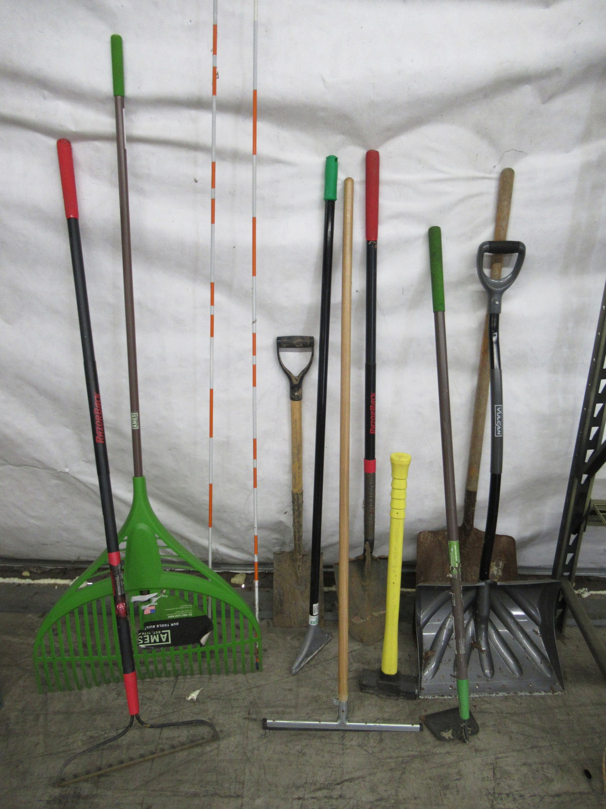 Lot 250 - Wheelbarrow, Rakes, Shovels, Sledge Hammer, Squeegee, Hoe