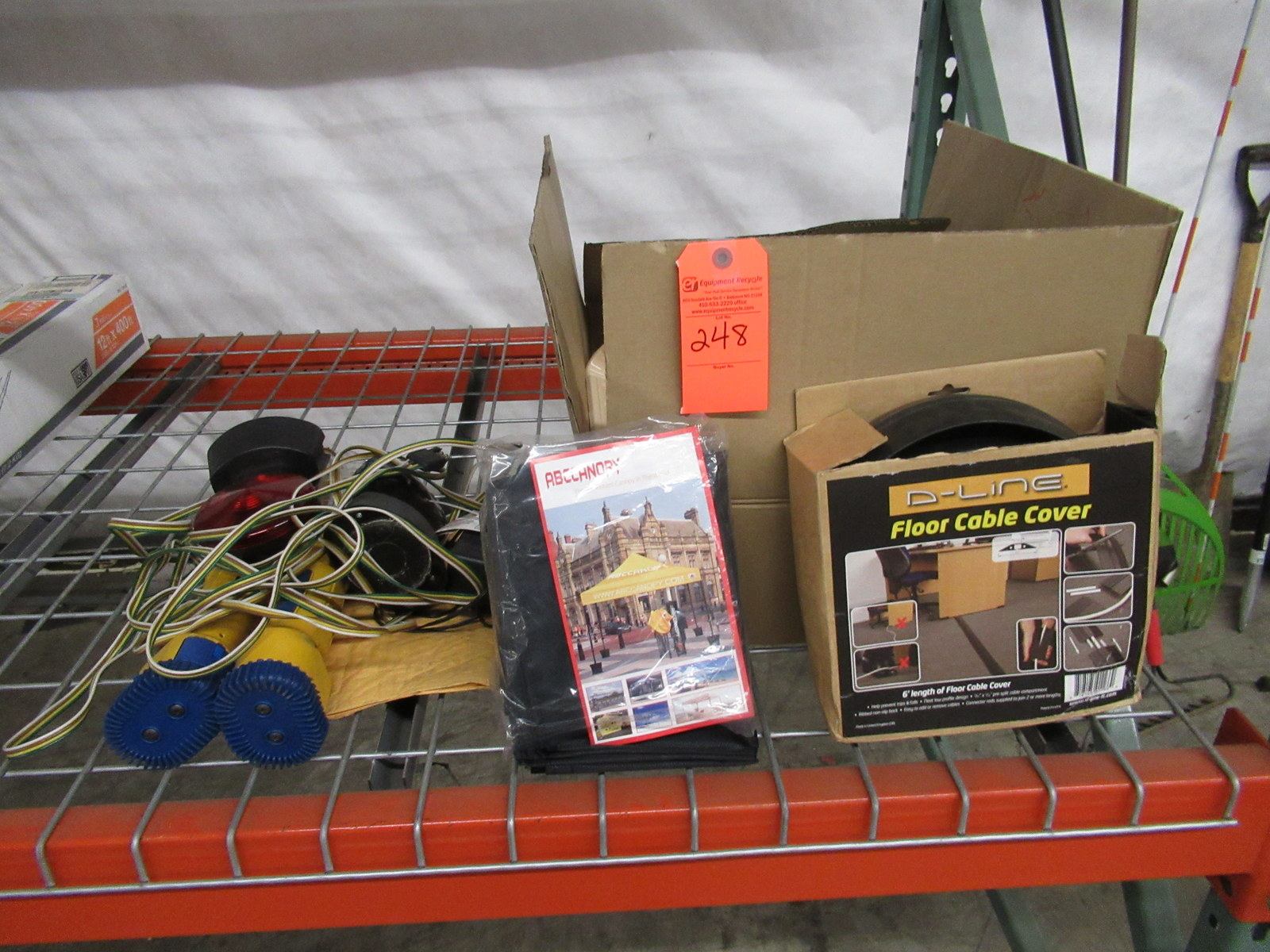 Lot 248 - Cables, Black Canopy, Floor Cable Cover, Painting Supplies, and more