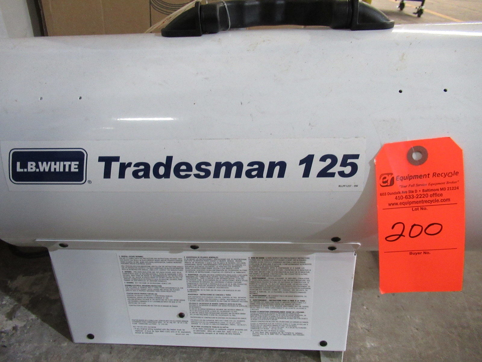 Lot 200 - L.B. White Tradesman 125 Forced Air Heater