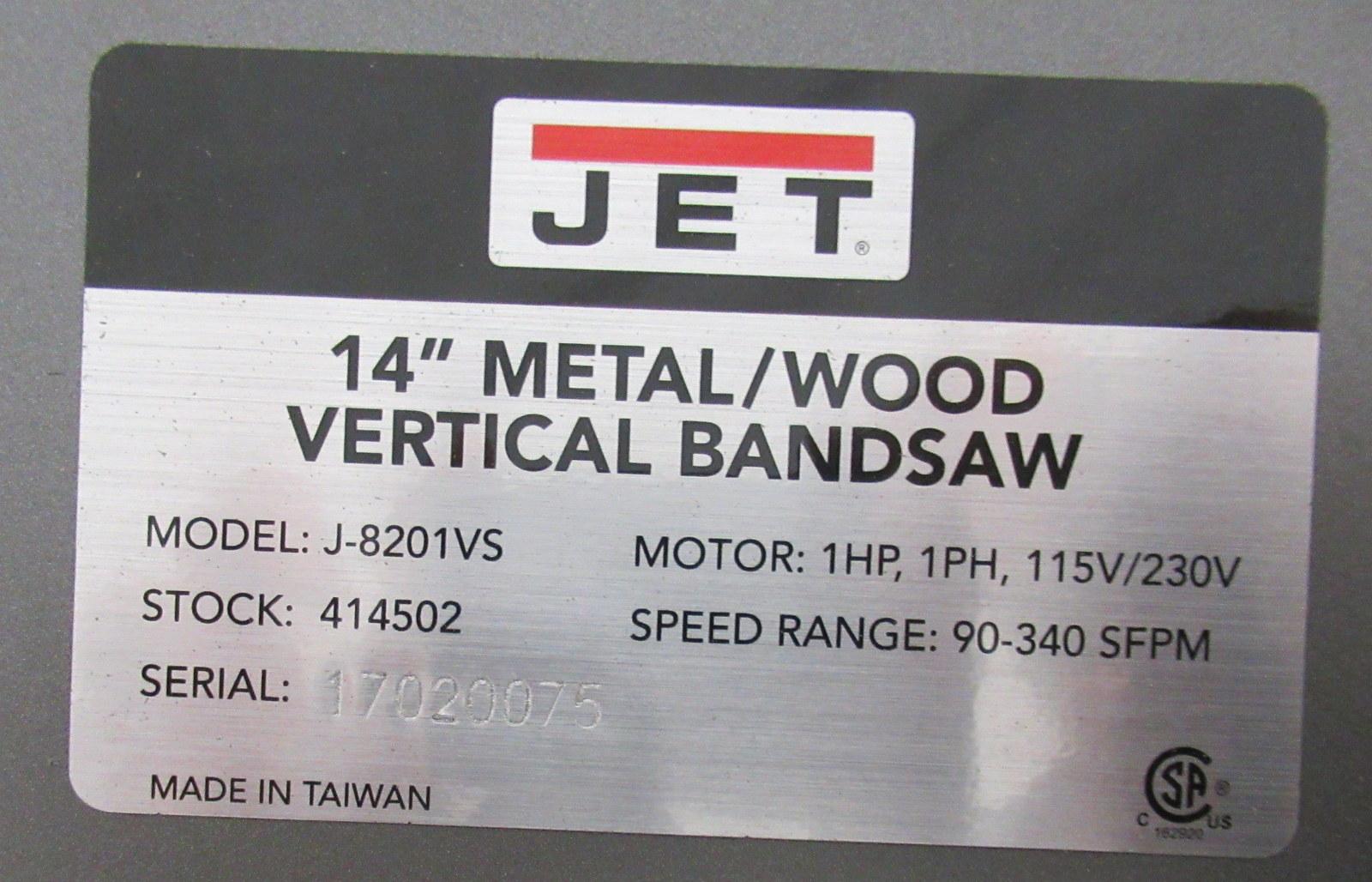 "Lot 219 - Jet J-8201-VS 14"" Metal/Wood Bandsaw"