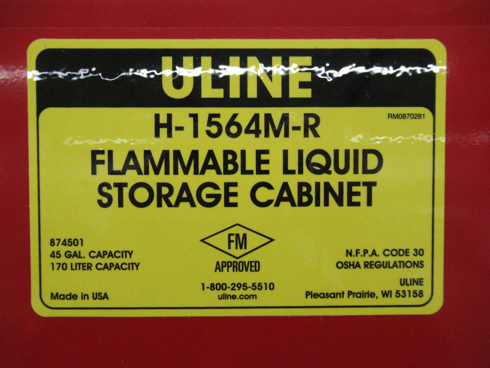 Lot 217 - Uline H-1564M-R 45 Gallon Flammable Liquid Storage Cabinet & Contents