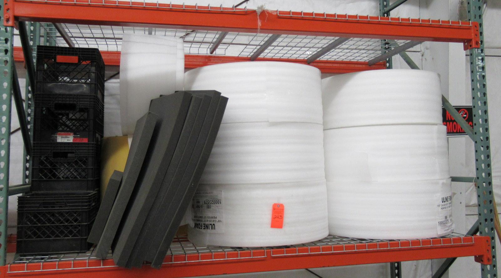 Lot 243 - Uline Foam Rolls, Foam Boards, and Baskets