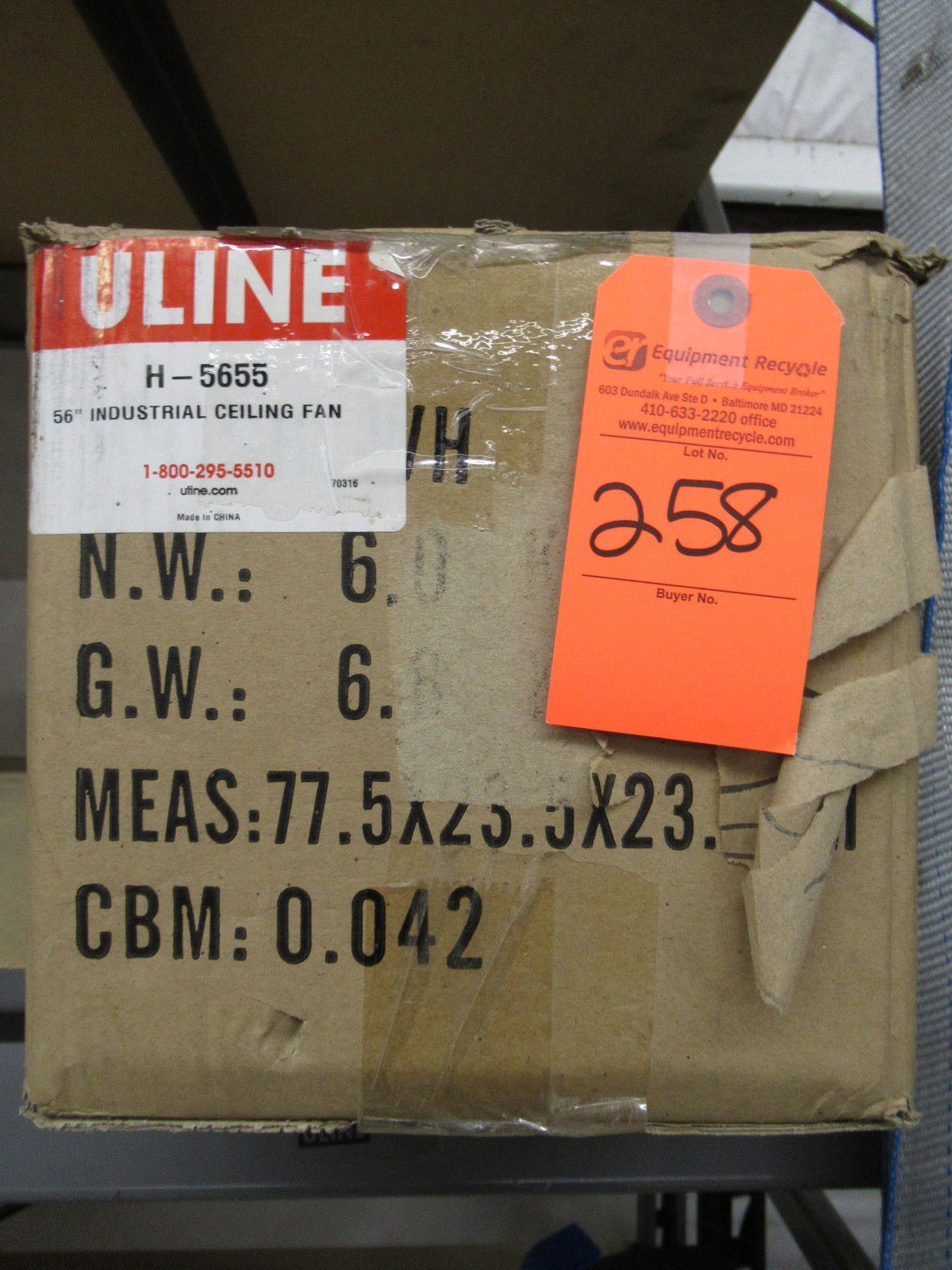 "Lot 258 - Uline H-5655 56"" Industrial Ceiling Fan New"
