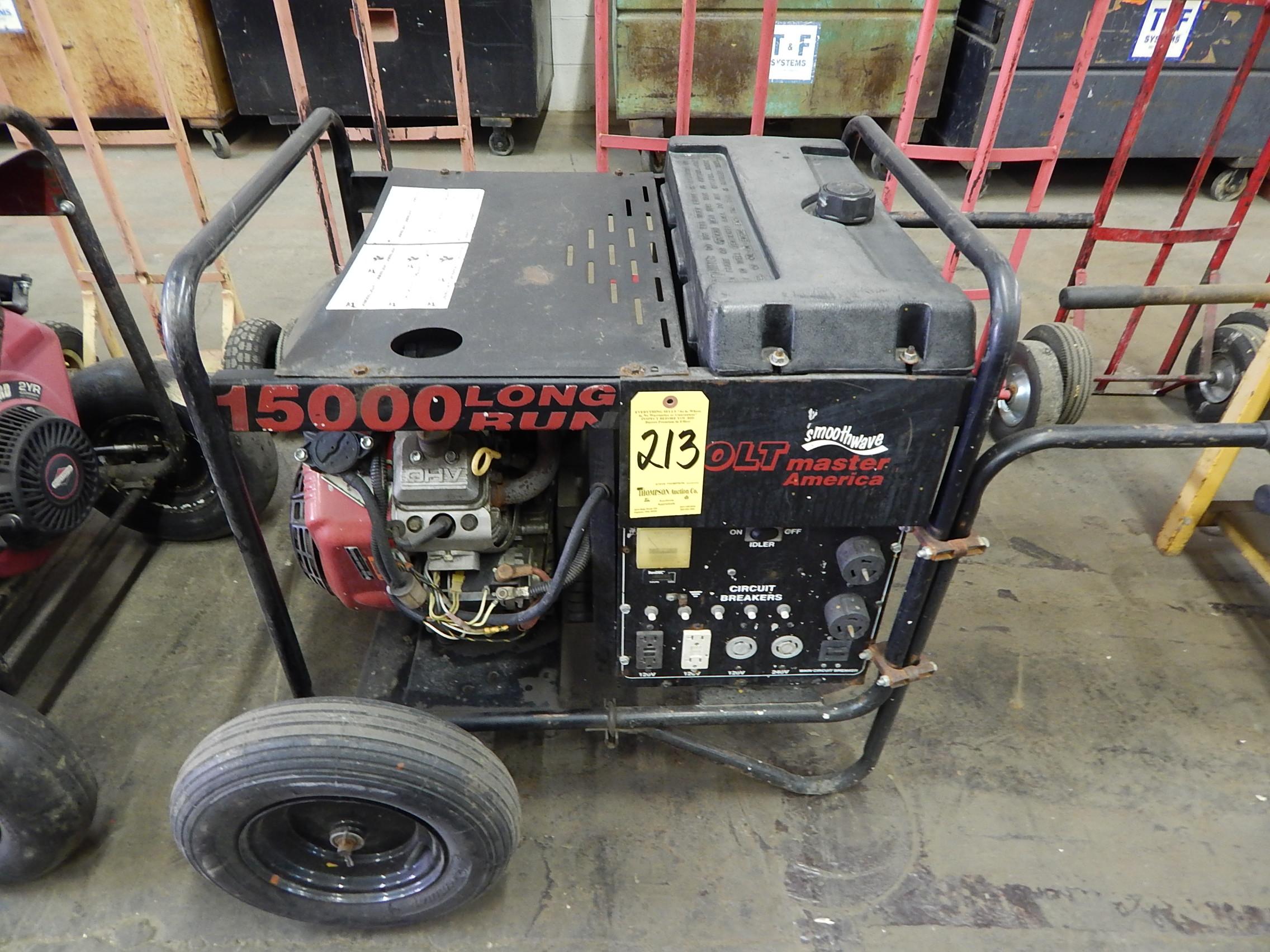 Lot 213 Volt Master America Model 15000 Long Run Gas Ed Generator Electric