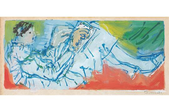 A painting, signed Fikret Mualla, gouache on paper