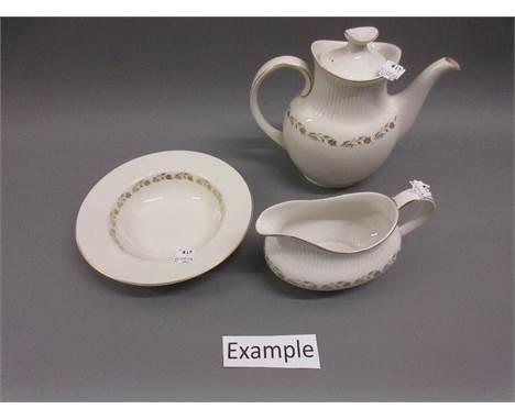 Royal Doulton Fairfax pattern dinner service comprising: twelve dinner plates, twelve side plates, twelve tea plated, ten sou