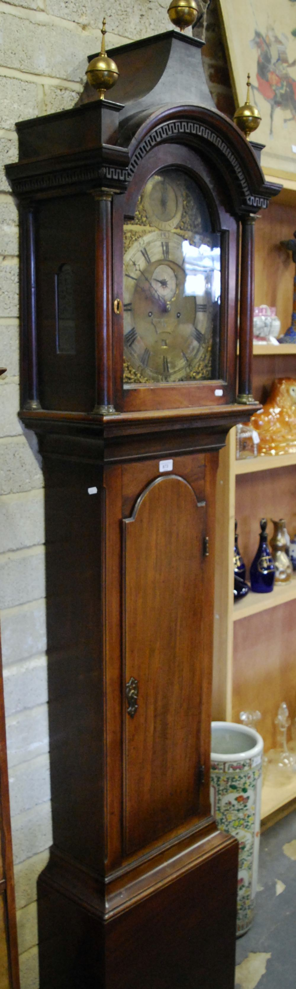Lot 873 - Joshua Frattle, Portsmouth, an 18th century 8-day mahogany longcase clock, the brass and silvered