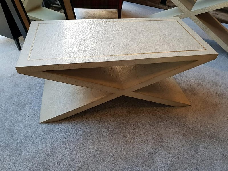 Lot 22 - Coffee Table - Andrew Martin Vita Coffee Table An Elegant X Leg Neutral Coffee Table With An All