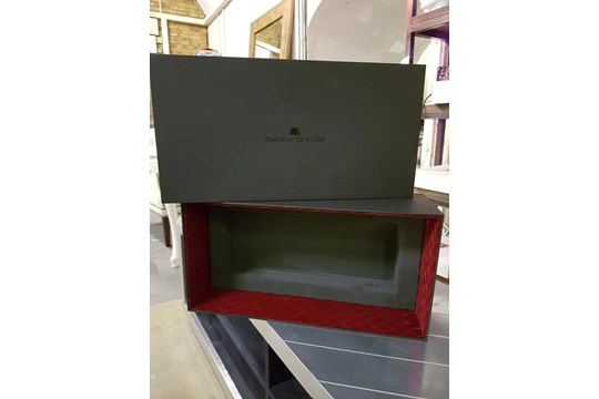 Lot 739 - Gift - A Luxury Panelled Gift Box With Lid Internally upholstered in Grey With Red Velvet 54 x 28