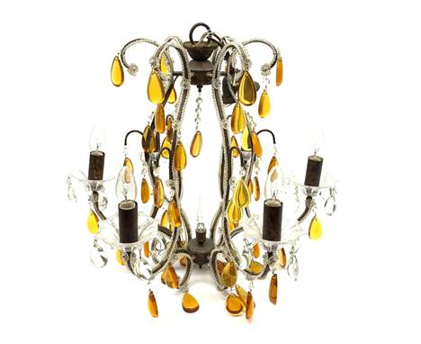 A Murano style chandelier, with six curved branches with frilled clear glass drip pans hung with clear droppers, the whole fu