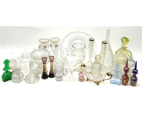 A group of assorted glassware, to include pair of silver mounted bud vases, hallmarks for Birmingham, Murano scent bottle of