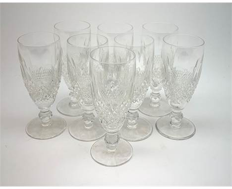 A set of eight Waterford crystal Colleen pattern champagne flutes, H15cm.Click here to view further images, condition reports