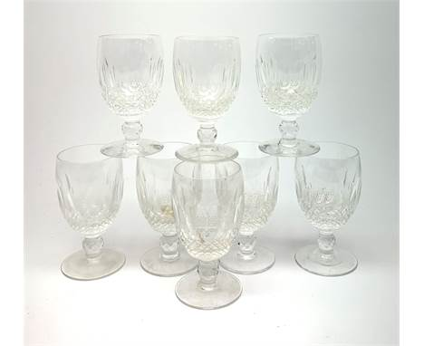 A set of eight Waterford crystal Colleen pattern wine glasses, H13cm. Click here to view further images, condition reports, s