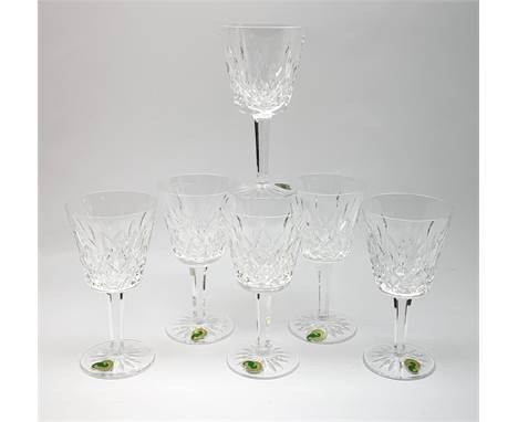 A set of six Waterford crystal wine glasses, H14.5cm. Click here to view further images, condition reports, sale times &