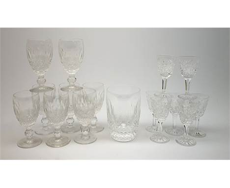 A set of eight Waterford crystal Colleen pattern sherry glasses, H11cm, together with a seven Waterford crystal Lismore patte