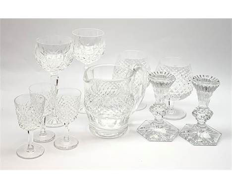 A group of Waterford crystal, comprising a pair of Chatham candlesticks, pair of brandy balloons, pair of hock glasses, three