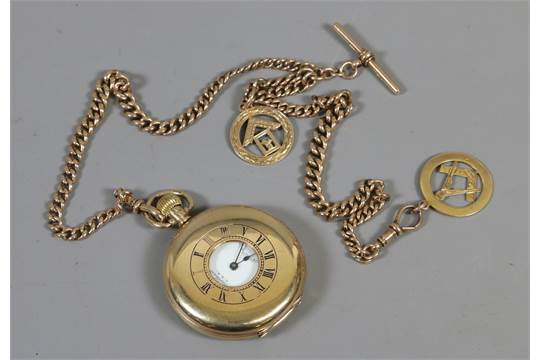 5712f1043 A Waltham 9ct gold half hunter Masonic pocket watch and double ...