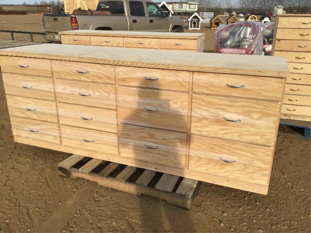 Lot 112 - Custom Built 14 Drawer Shop Cabinet