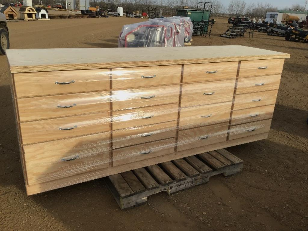 Lot 111 - Custom Built 18 Drawer Shop Cabinet (Lot 111, & 112 Selling On Choice)