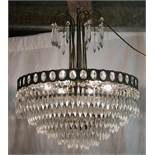 *CHANDELIER WITH LOZENGE SHAPED DROPLETS, MID 1900S. HEIGHT 610MM (24IN) X DIAMETER 485MM (19IN) [