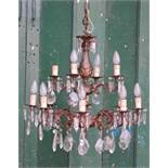 *ITALIAN CHANDELIER, CIRCA 1950, RECENTLY WIRED. HEIGHT 970MM (38.25IN) X DIAMETER 670MM (26.