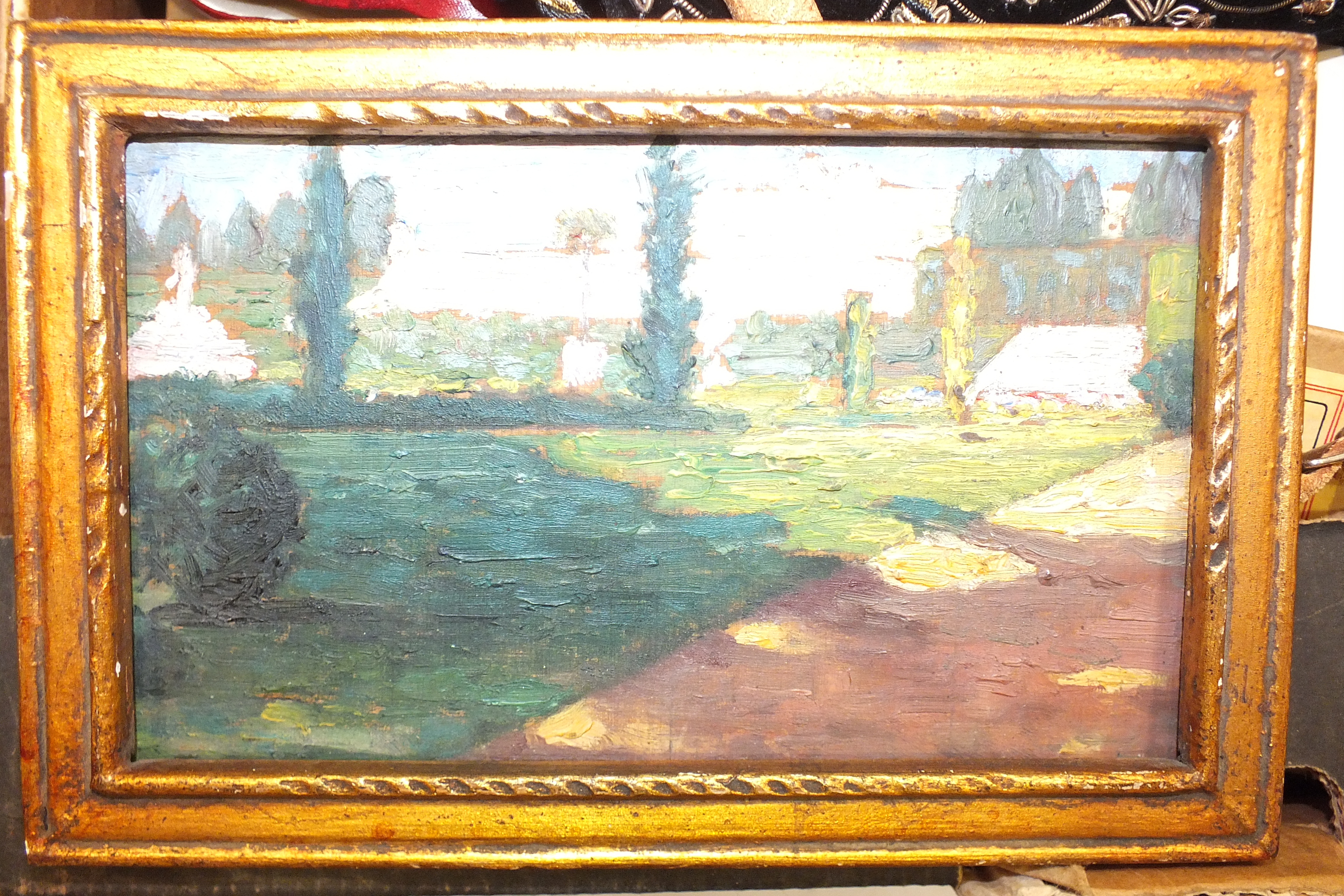 Ch Faurie?, 'Versailles', oil on panel, inscribed in pencil and dated 1910, 9 x 16cm, a pair of - Image 2 of 2