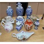 A group of 18th and 19th century Chinese porcelain vessels and three other vases tallest 31cm