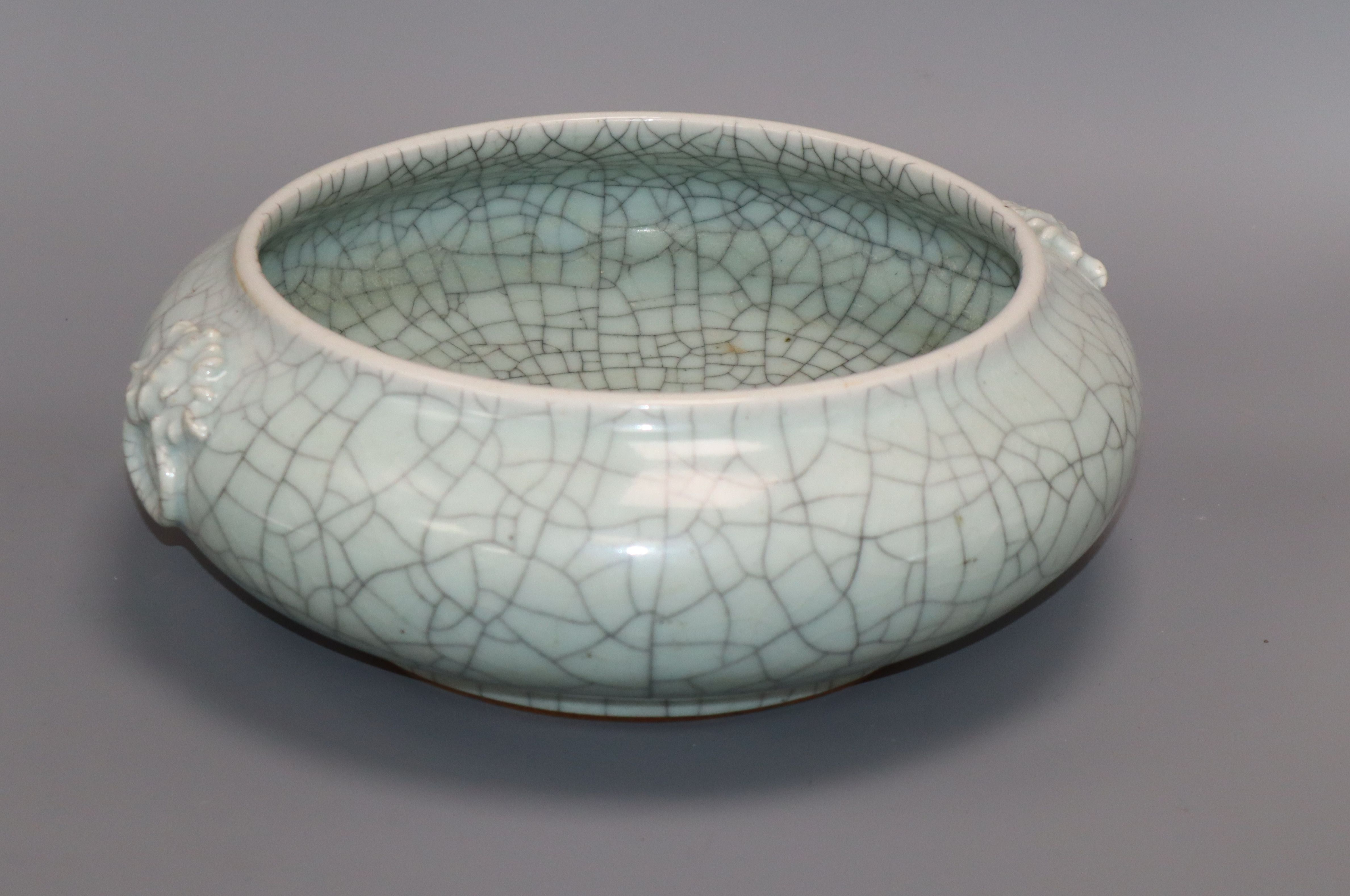 A large Chinese celadon crackle glaze censer height 11cm