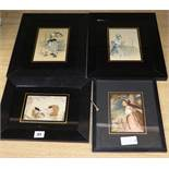 K. Laing - four early 20th century silk embroidered drawings