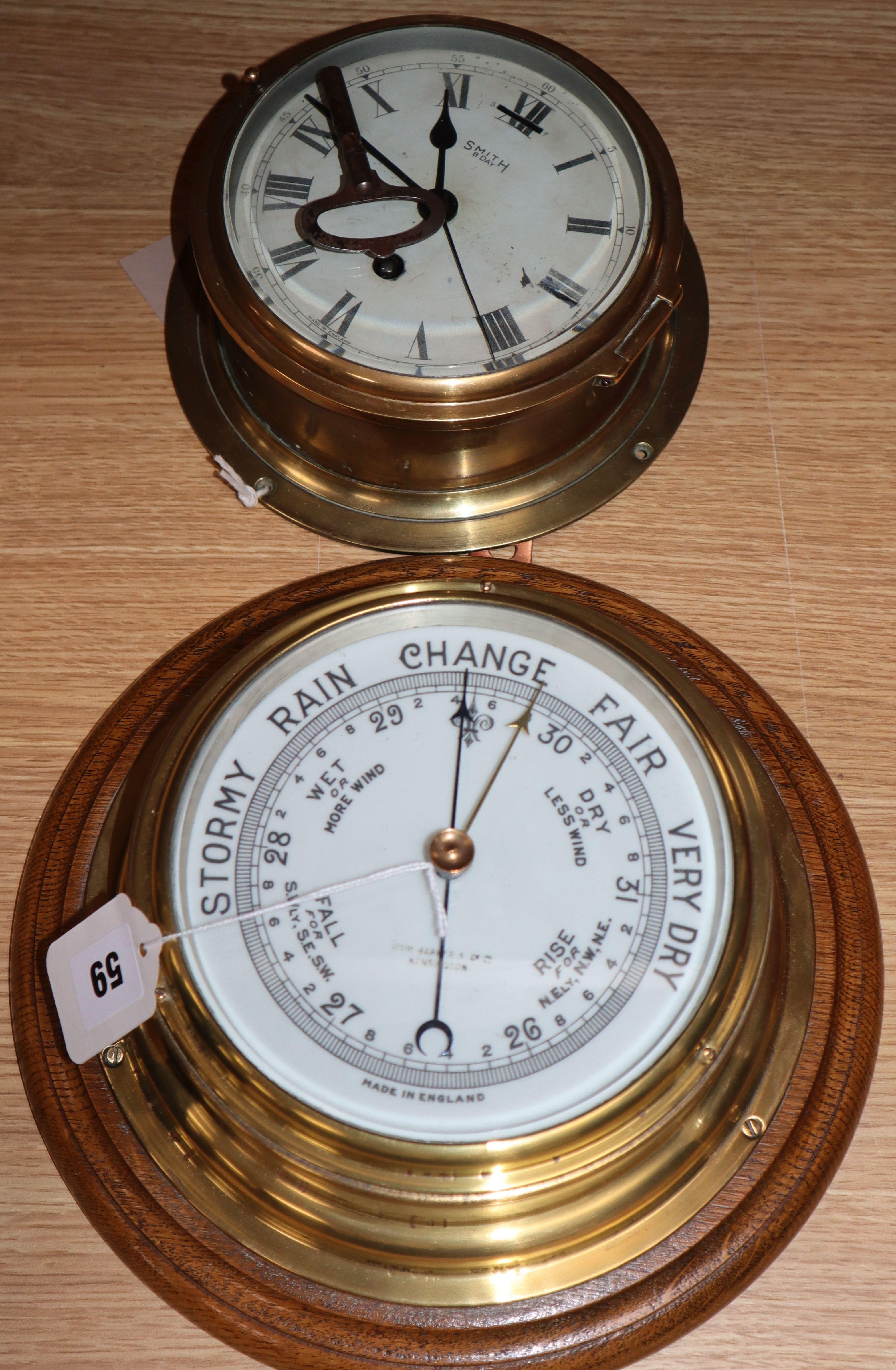 Lot 59 - A ship's aneroid barometer and a bulkhead clock