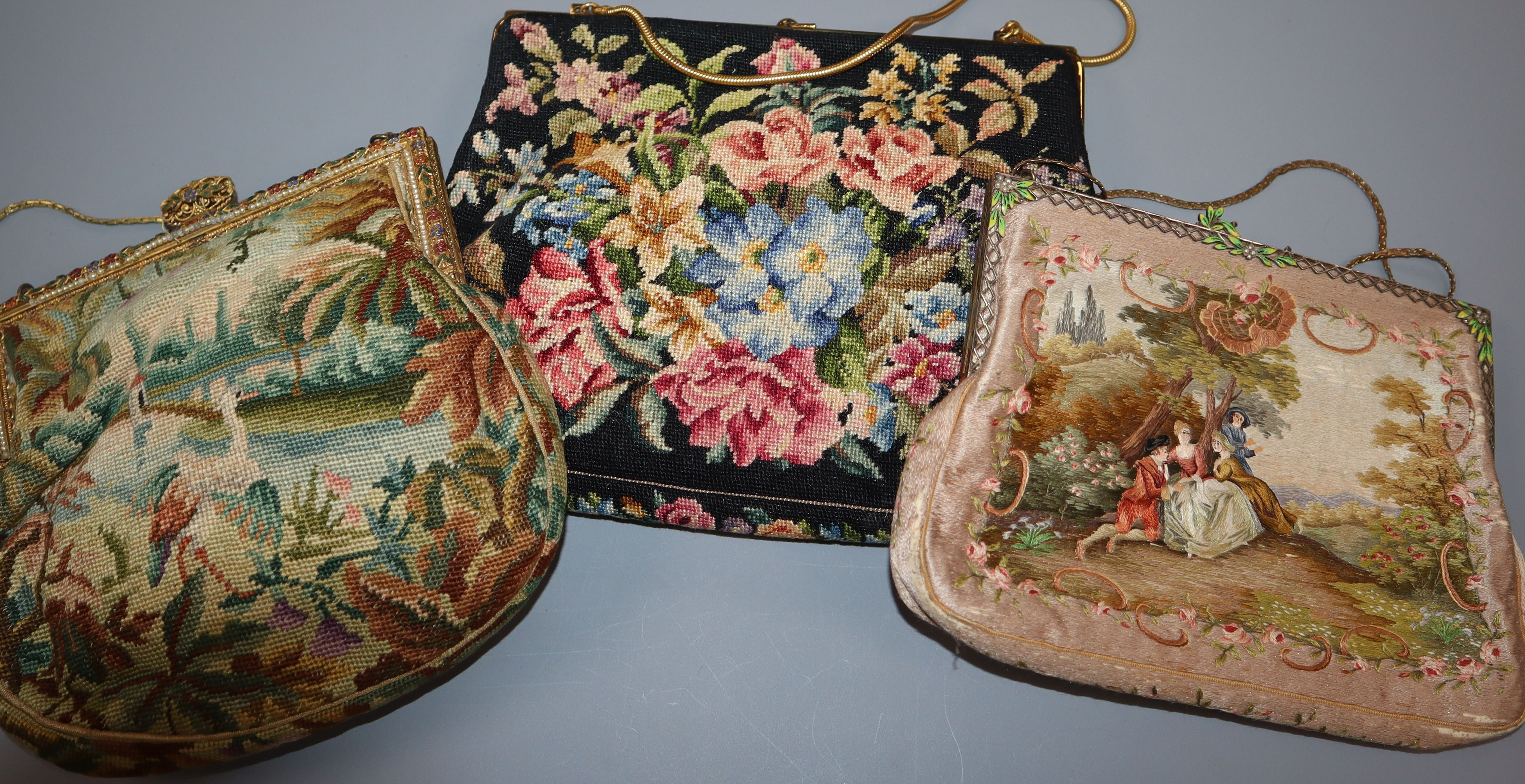 Lot 296 - A fine silk embroidered bag and a two needlework bags