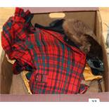 A beaver sporran, various vintage kilts and other clothing