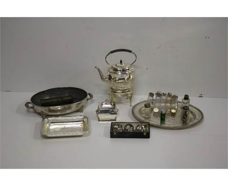 Silver & Plateware: A collection of glass silver topped Bottles, a large oval silver plated Platter, a pair of Vegetable
