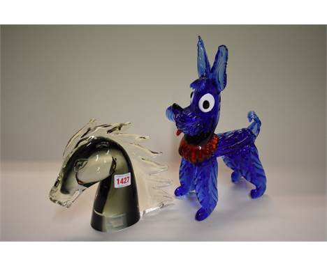 A Murano glass novelty poodle,31cm high; together with another glass horse's head, 20cm high. (2)