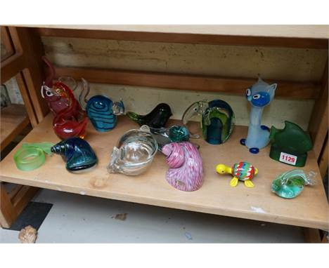A collection of Continental novelty glass animals, to include Murano examples, largest 16cm high.