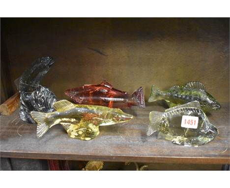 Five Kosta Boda clear and coloured glass fish,largest 14.5cm high. (5)