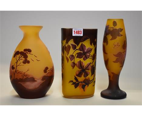 Three Galle style cameo glass vase, largest 24.5cm high.