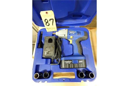 Goodyear Racing 24v Cordless Impact Wrench W Charger Sockets Case 1 2 Drive