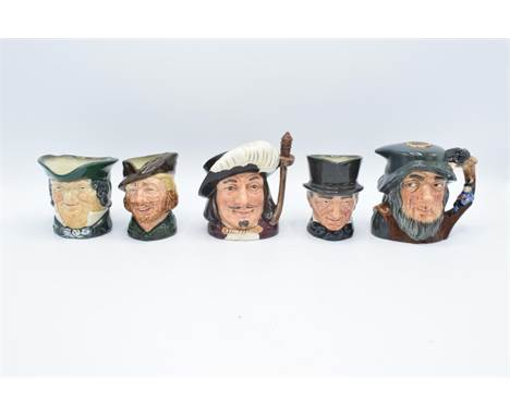 Small Royal Doulton character jugs to include Rip Van Winkle decanter, Porthos, John Peel, Parson Brown and Robin Hood (5). I