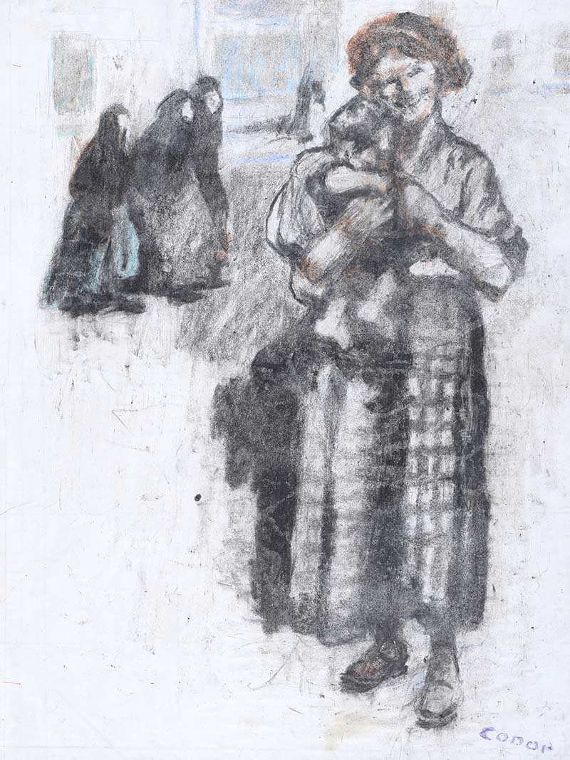 Lot 5 - William Conor, RHA RUA - GIRL & BABY - Wax Crayon on Paper - 18 x 13 inches - Signed