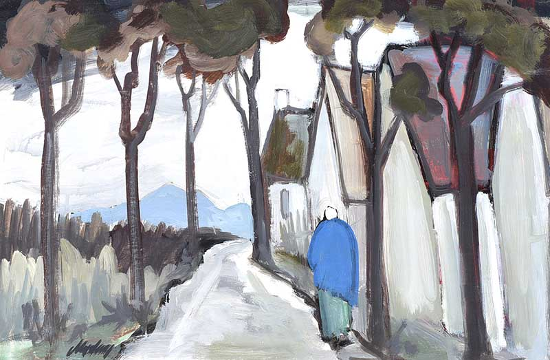 Lot 25 - Markey Robinson - PATH BY THE COTTAGES - Gouache on Board - 16 x 25 inches - Signed
