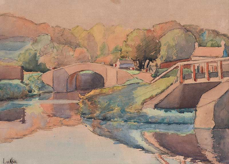 Lot 8 - John Luke, RUA - LAGAN REFLECTIONS - Watercolour Drawing - 9 x 12 inches - Signed