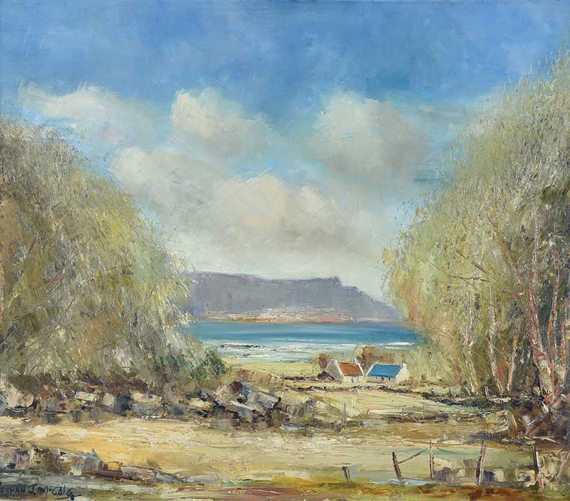 Lot 52 - Norman J. McCaig - COTTAGES ON THE ANTRIM COAST - Oil on Board - 24 x 28 inches - Signed