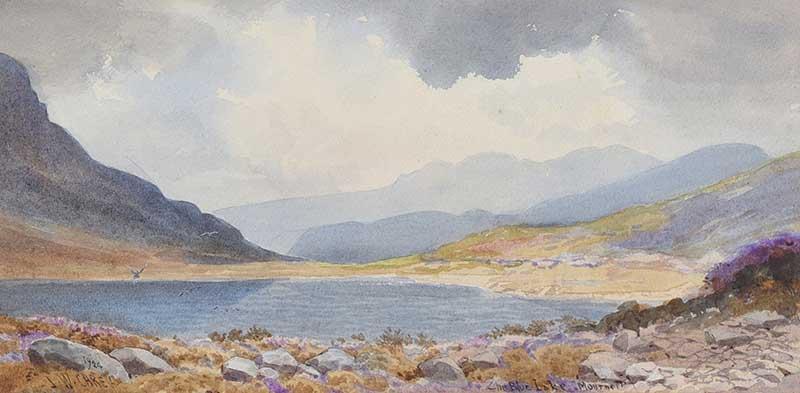Lot 12 - Joseph William Carey, RUA - THE BLUE LAKE IN THE MOURNES - Watercolour Drawing - 8 x 15 inches -