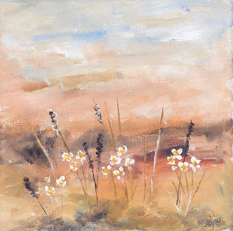 Lot 21 - Michael Smyth - LITTLE FLOWER LANDSCAPE - Oil on Canvas - 6 x 6 inches - Signed