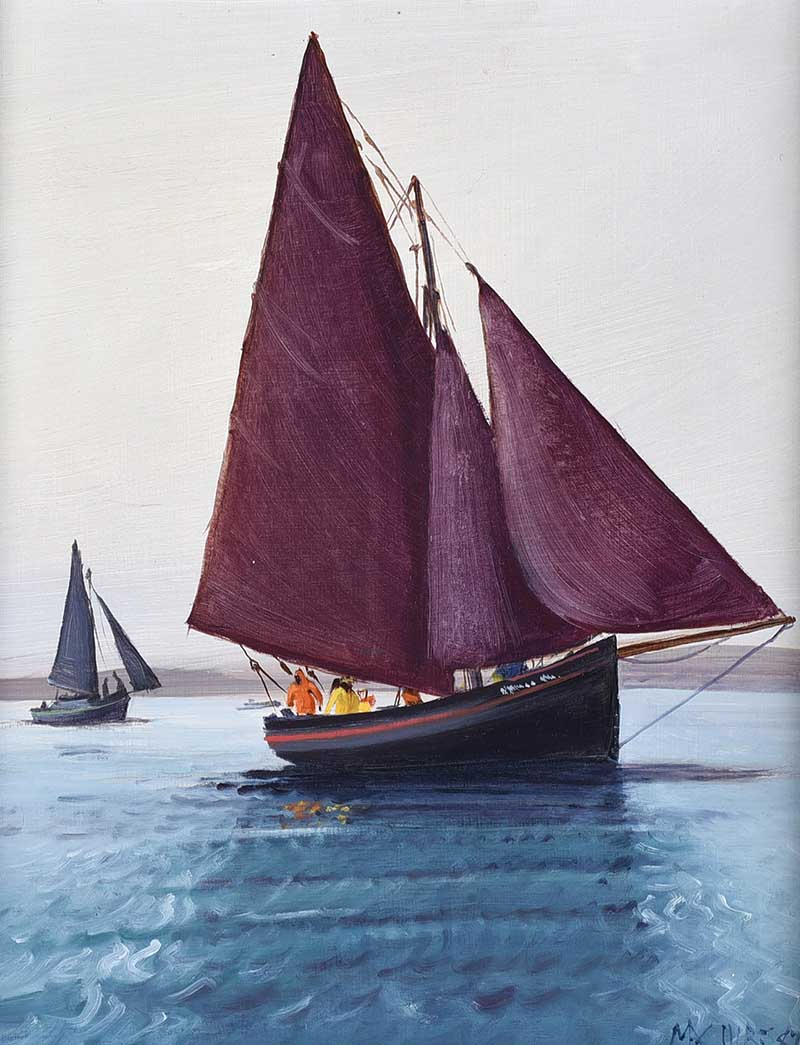 Lot 7 - Cecil Maguire, RUA - THE AMERICAN MOR AT ROUNDSTONE - Oil on Board - 15 x 12 inches - Signed