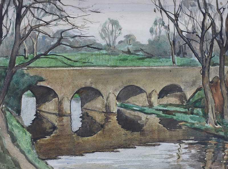 Lot 55 - William Conor, RHA RUA - SHAW'S BRIDGE - Watercolour Drawing - 10.5 x 14 inches - Signed