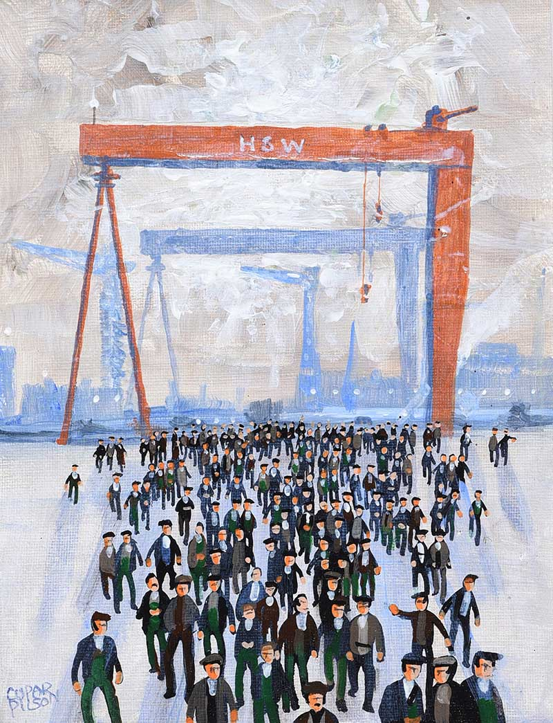 Lot 18 - Cupar Pilson - SHIPYARD MEN - Mixed Media - 9 x 7 inches - Signed