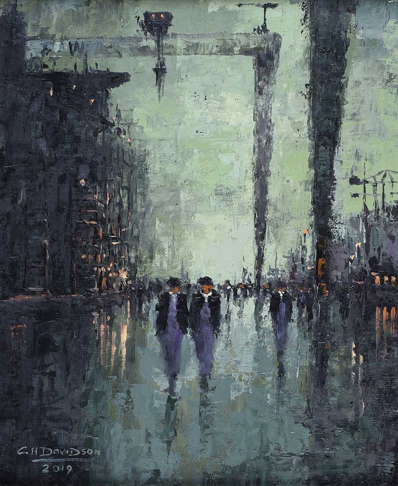 Lot 48 - Colin H. Davidson - NIGHTSHIFT YARDMEN AT HARLAND & WOLFF - Oil on Board - 12 x 10 inches - Signed